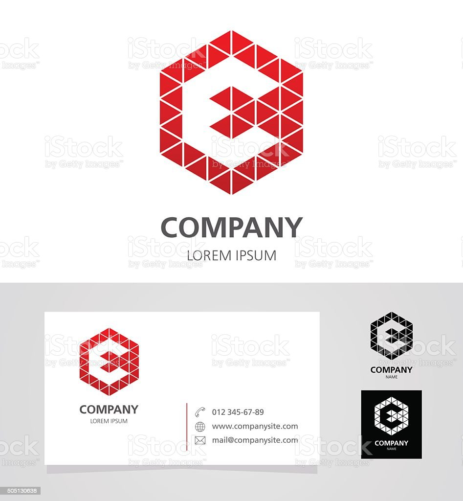 Letter E - Logotype Emblem Design Element with Business Card vector art illustration