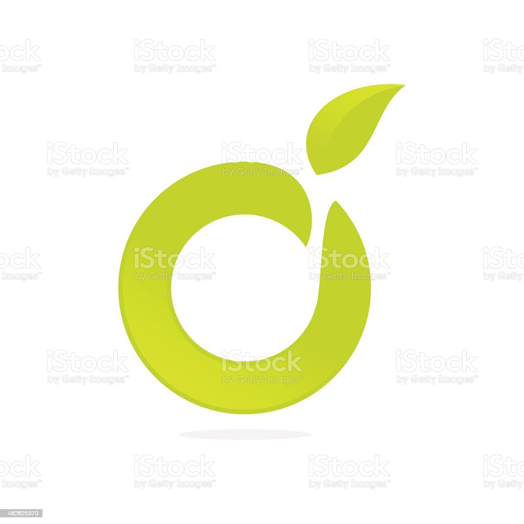 O letter eco icon vector art illustration