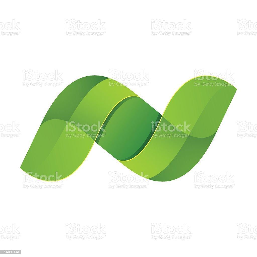 N letter eco icon vector art illustration