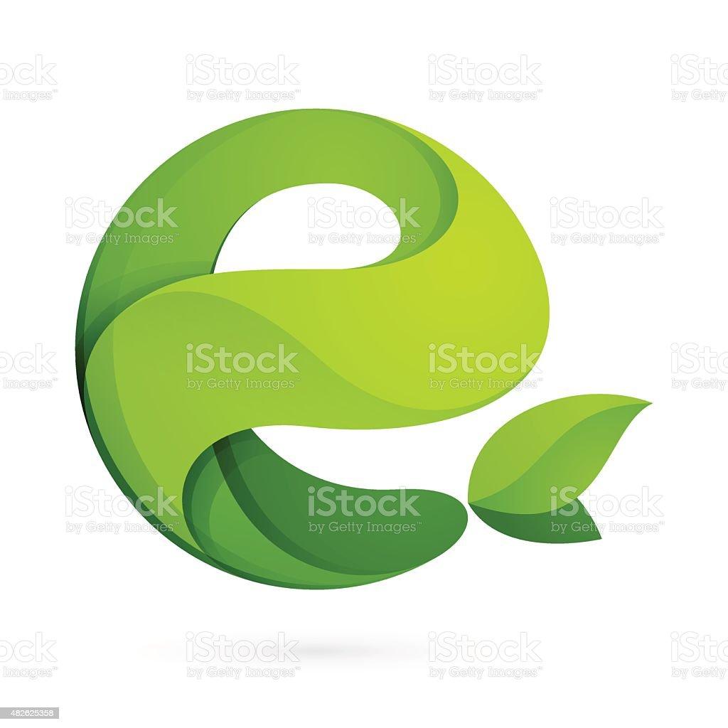 E letter eco logo vector art illustration