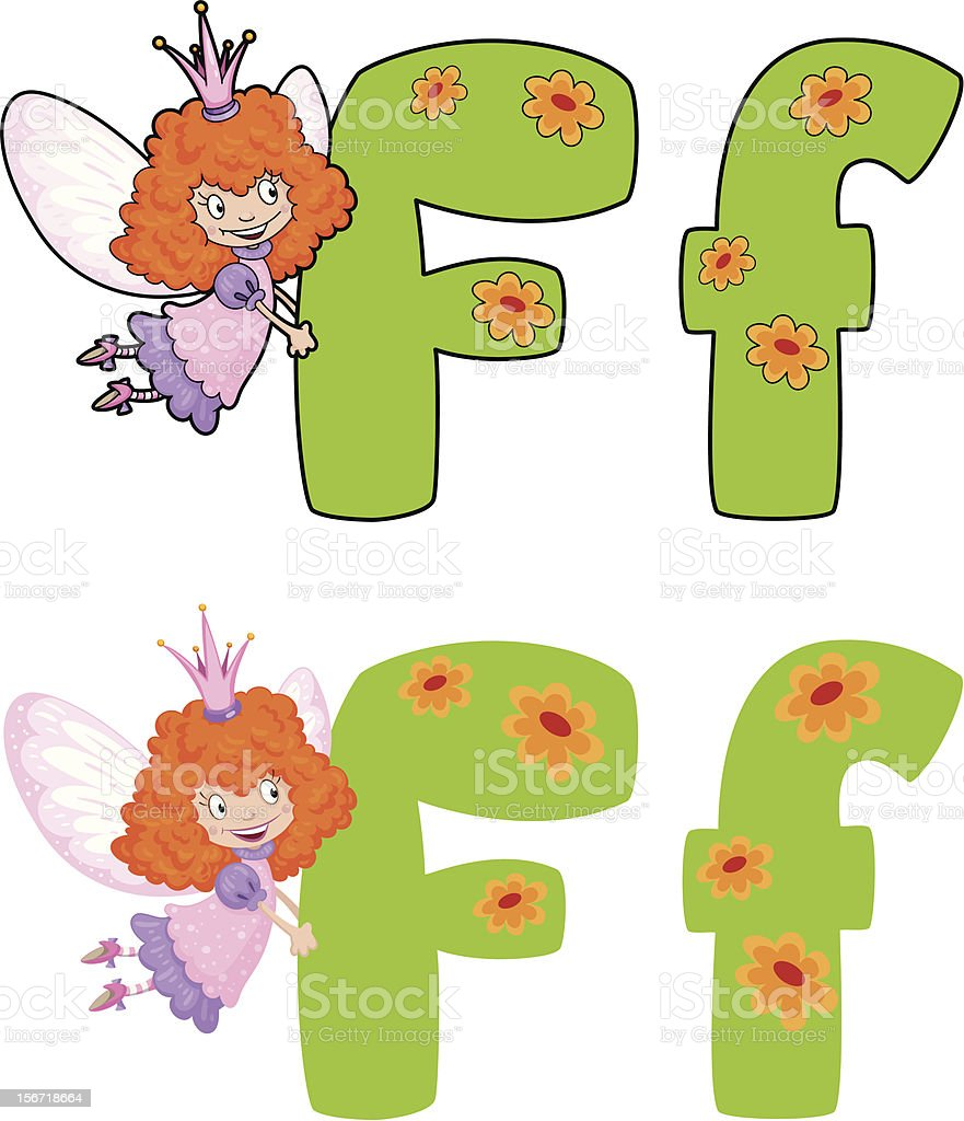 letter F fairy royalty-free stock vector art