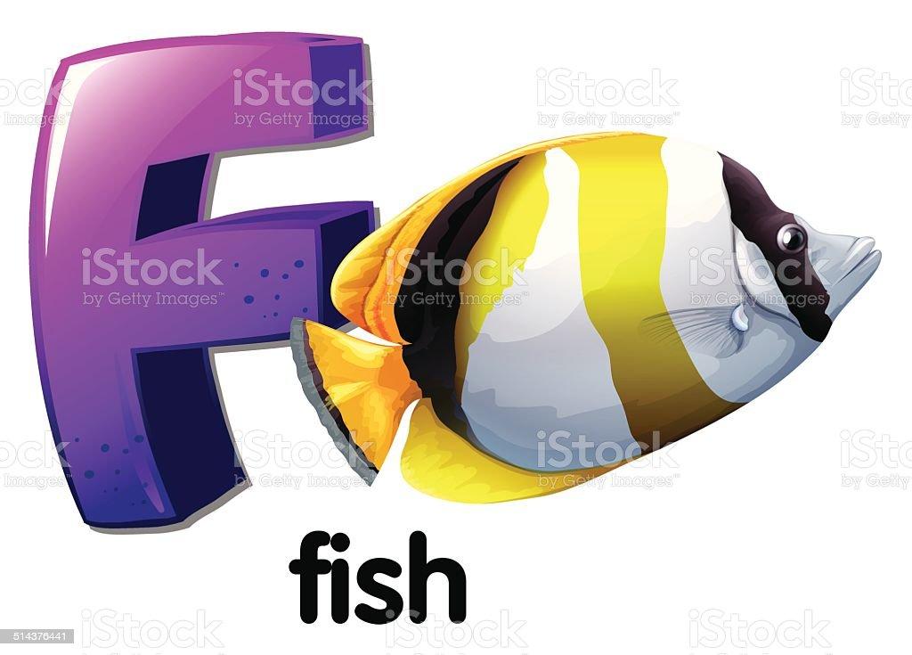Letter F for fish vector art illustration