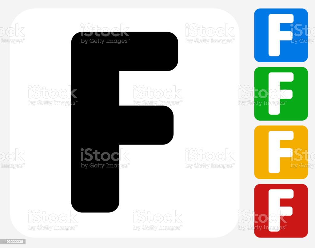 Letter F Icon Flat Graphic Design vector art illustration