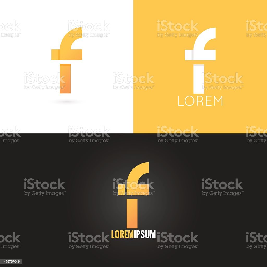 letter F logo design icon set background vector art illustration