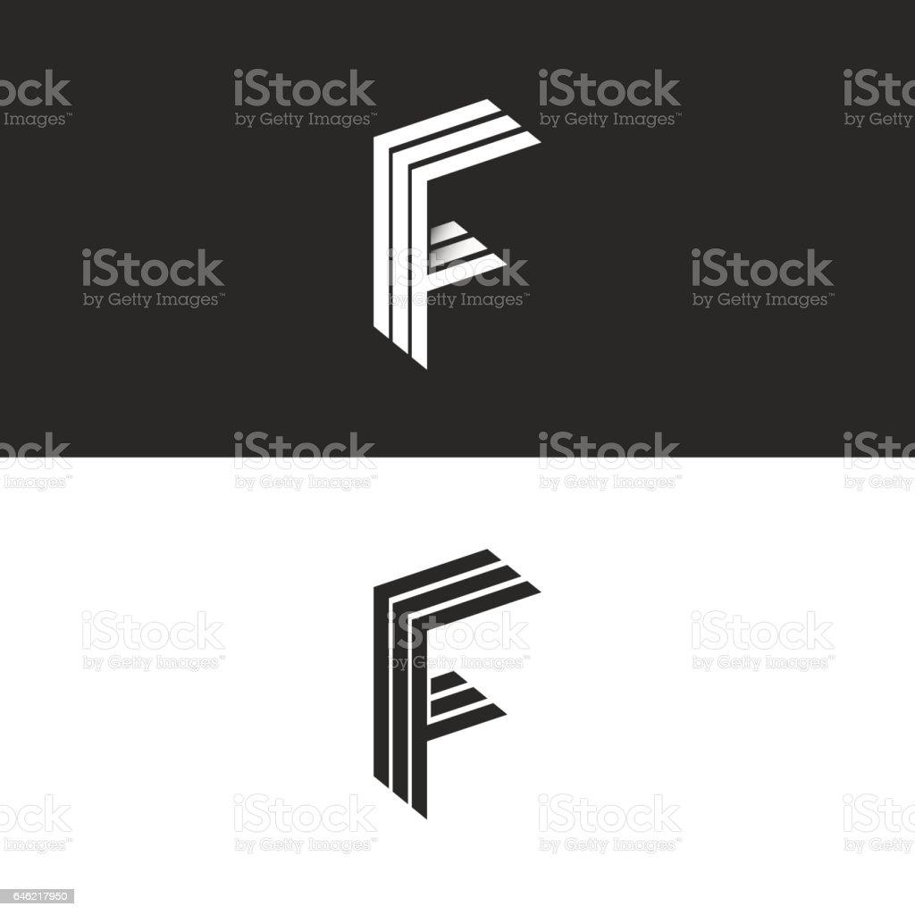Letter F logo monogram initial, isometric geometric shape vector art illustration