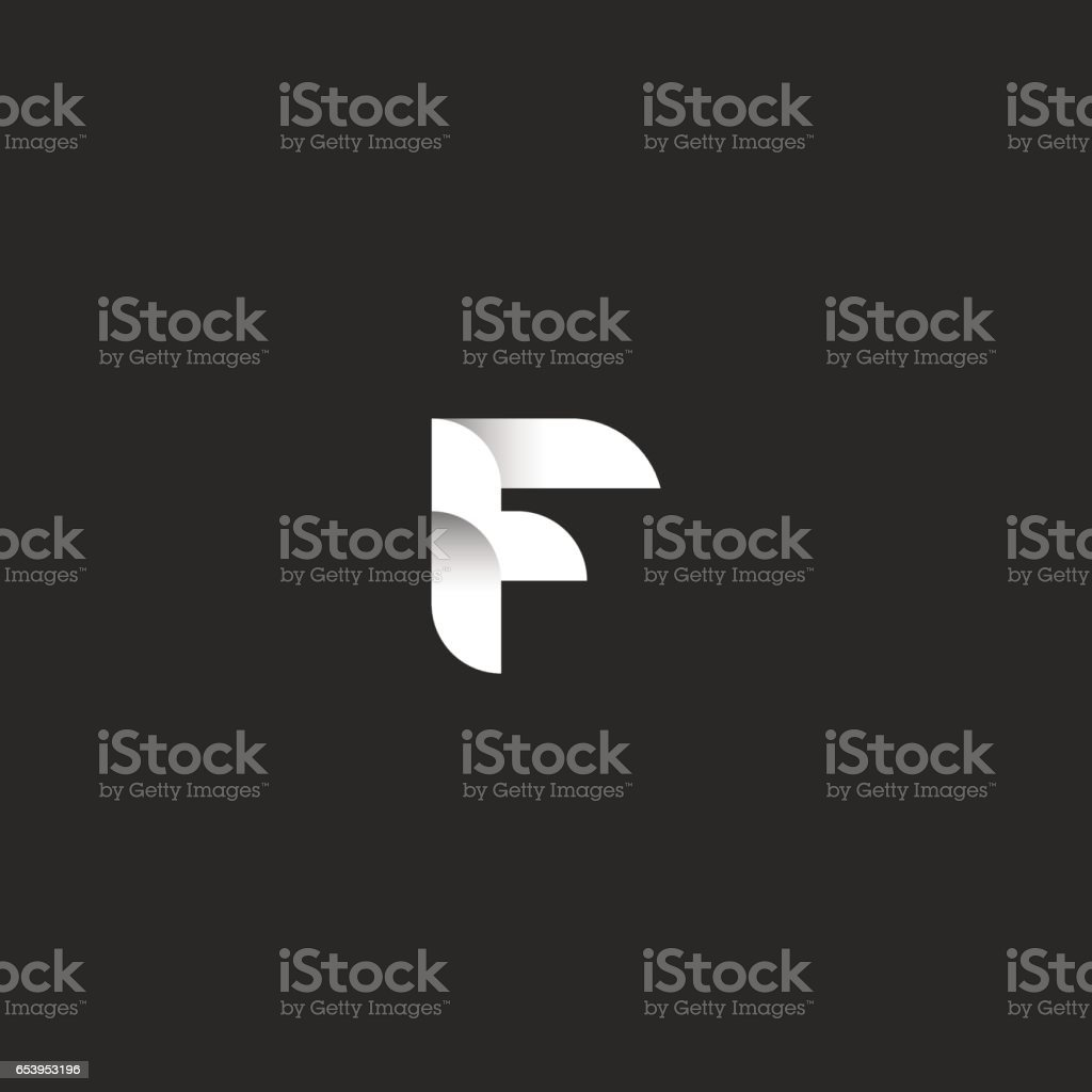 Letter F logo template, initial hipster emblem mockup, ribbon and shadow geometric simple shape, smooth line typography design element vector art illustration