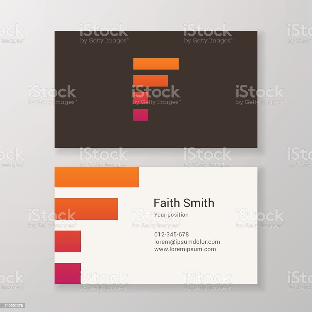 Letter F stripes Business card template vector art illustration