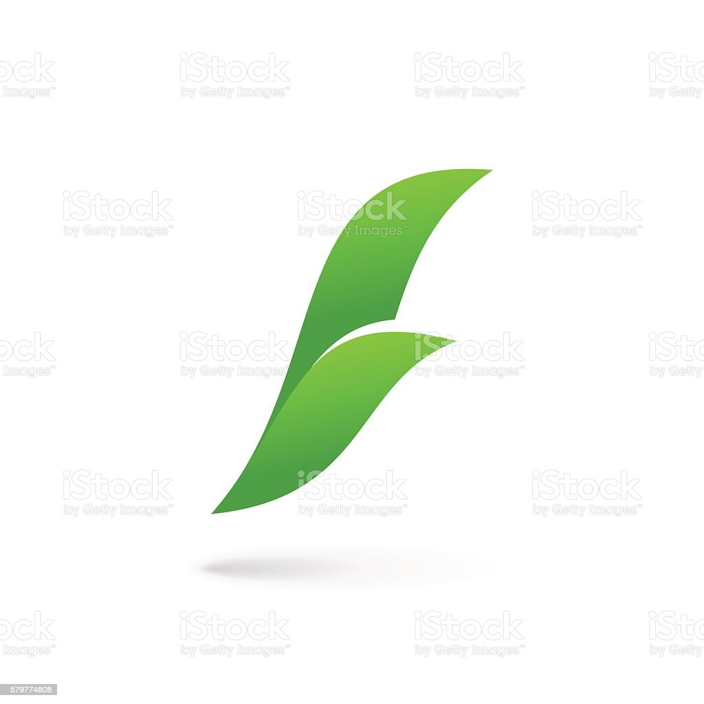 Letter F with eco leaves icon vector art illustration