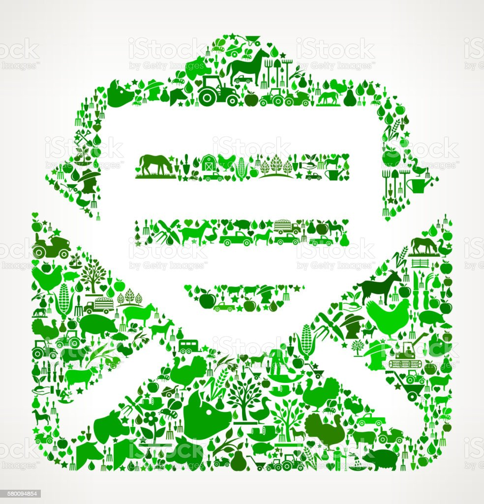 Letter Farming and Agriculture Green Icon Pattern vector art illustration