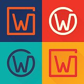 W letter flat icon in circle and square.