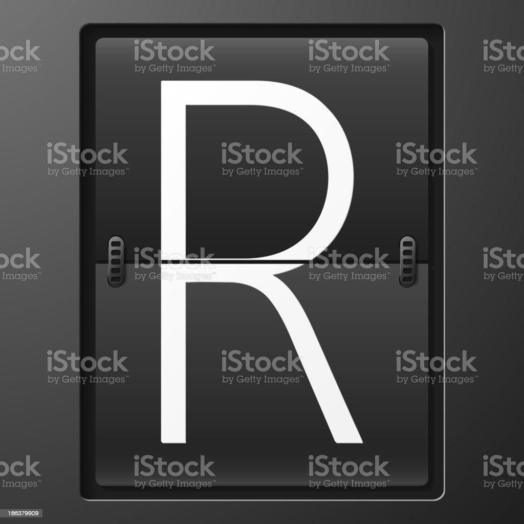 Letter from mechanical scoreboard alphabet royalty-free stock vector art