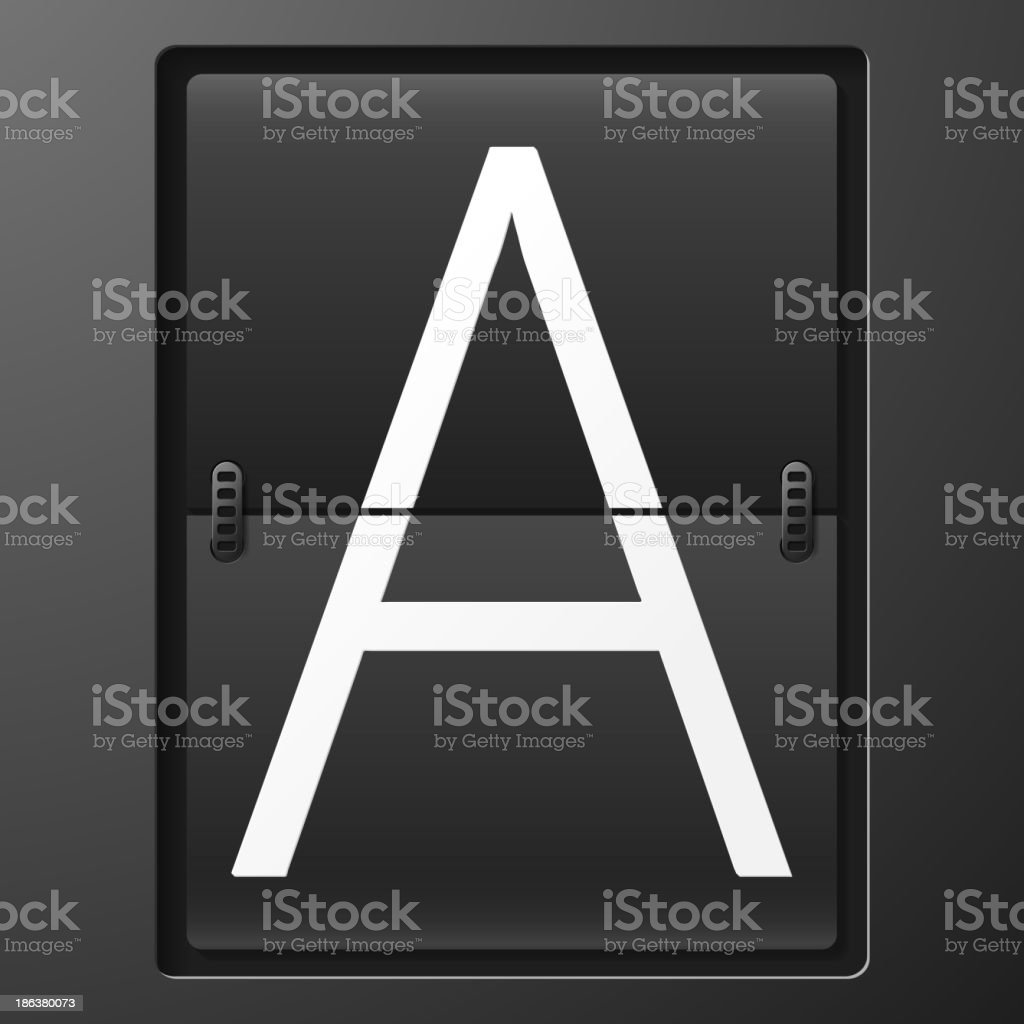 Letter from mechanical scoreboard alphabet royalty-free stock vector art