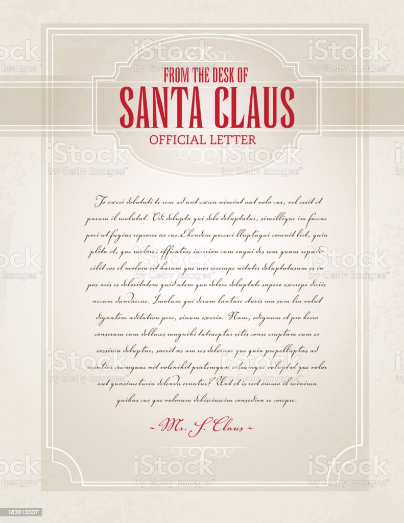 Letter from Santa template design vector art illustration