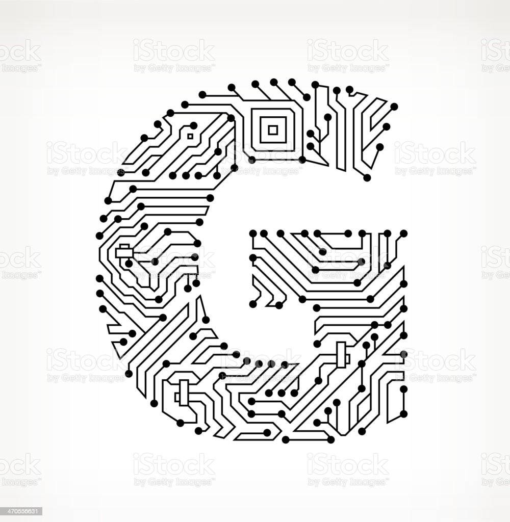 Letter G Circuit Board on White Background vector art illustration