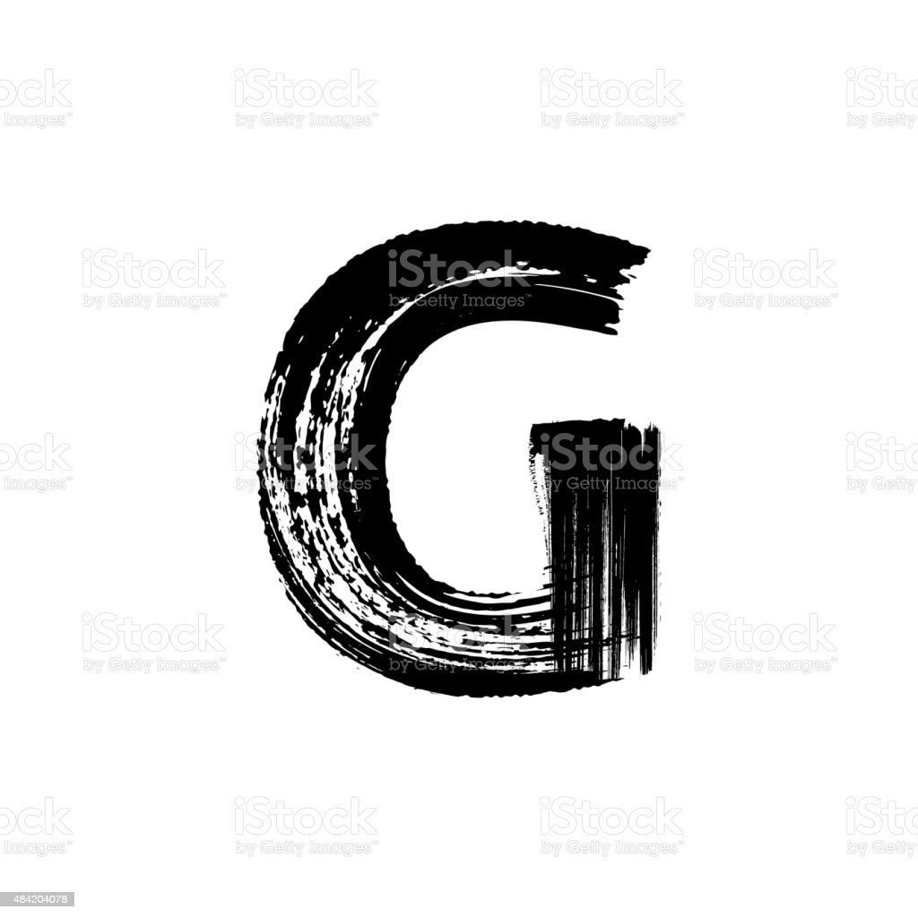 Letter G hand drawn with dry brush vector art illustration