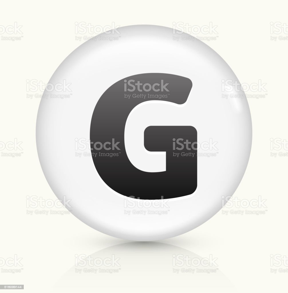 Letter G icon on white round vector button vector art illustration