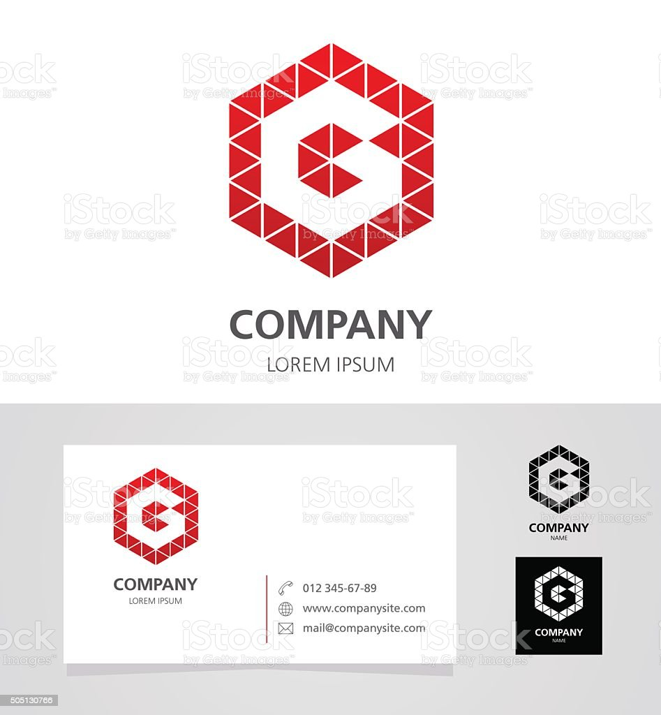 Letter G - Logotype Emblem Design Element with Business Card vector art illustration