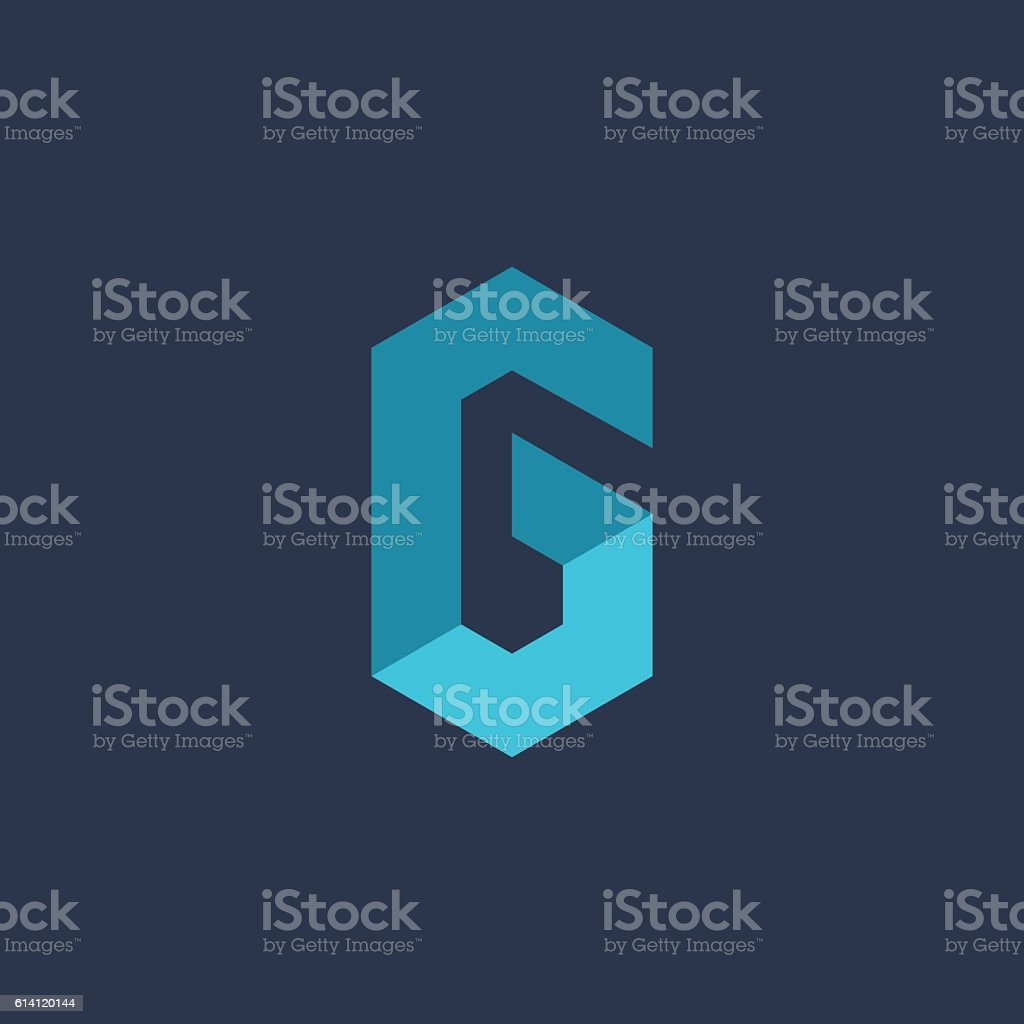 Letter G or number 6 technology icon vector art illustration