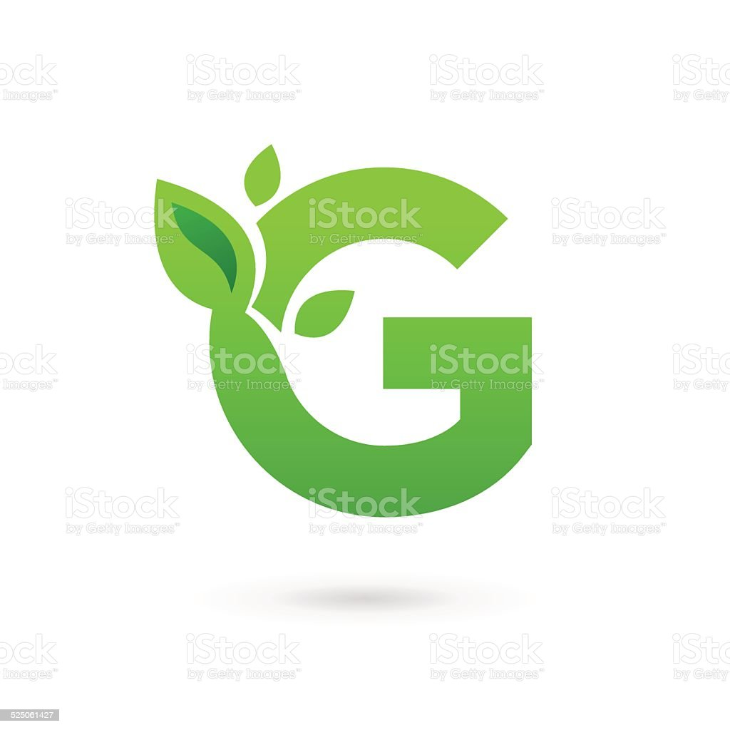 Letter G with eco leaves icon vector art illustration
