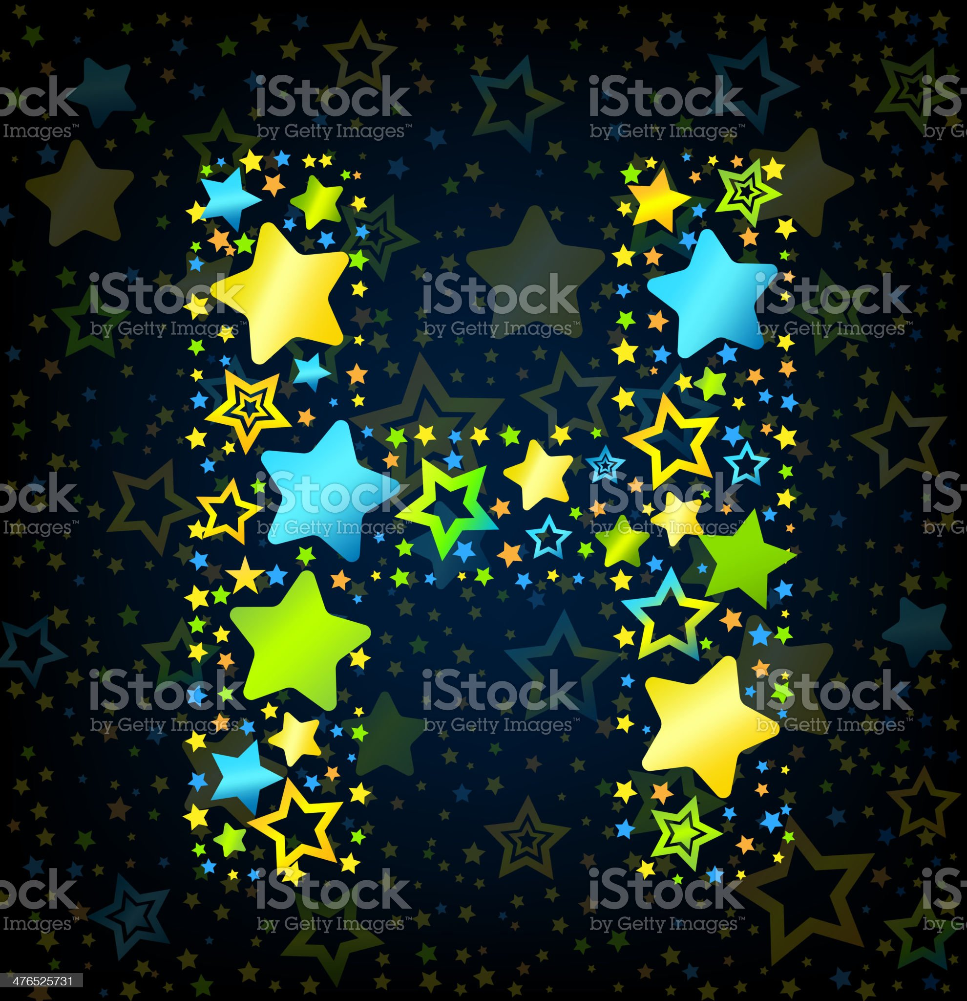 Letter H cartoon star colored royalty-free stock vector art