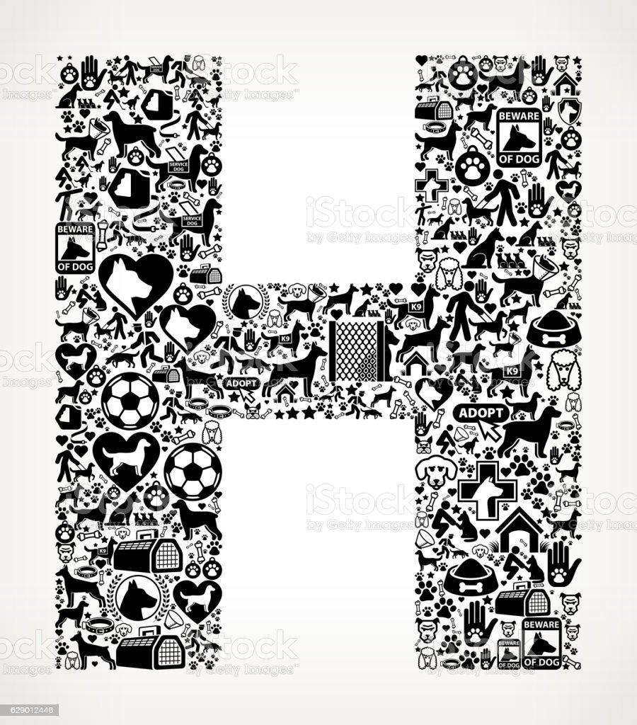 Letter H Dog and Canine Pet Black Icon Pattern vector art illustration
