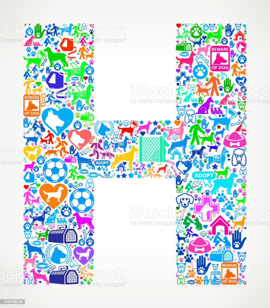 letter h dog and canine pet colorful icon pattern stock vector art
