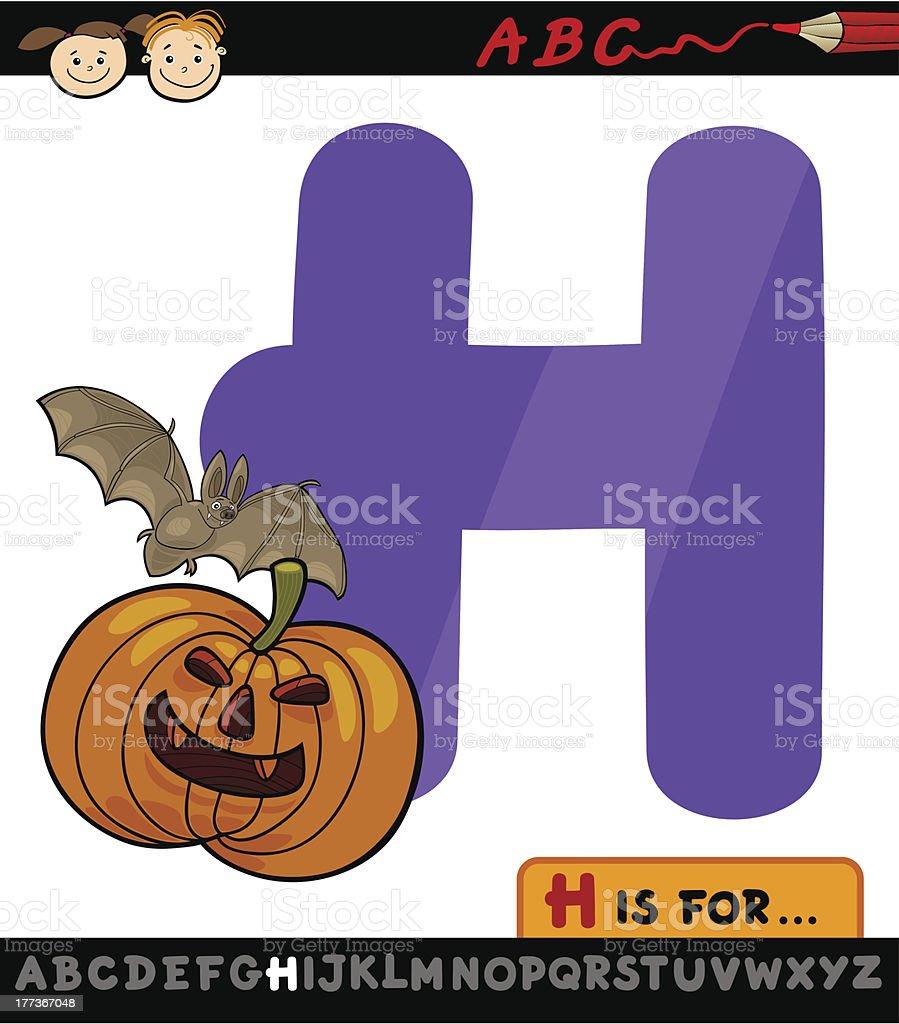 letter h for halloween cartoon illustration royalty-free stock vector art