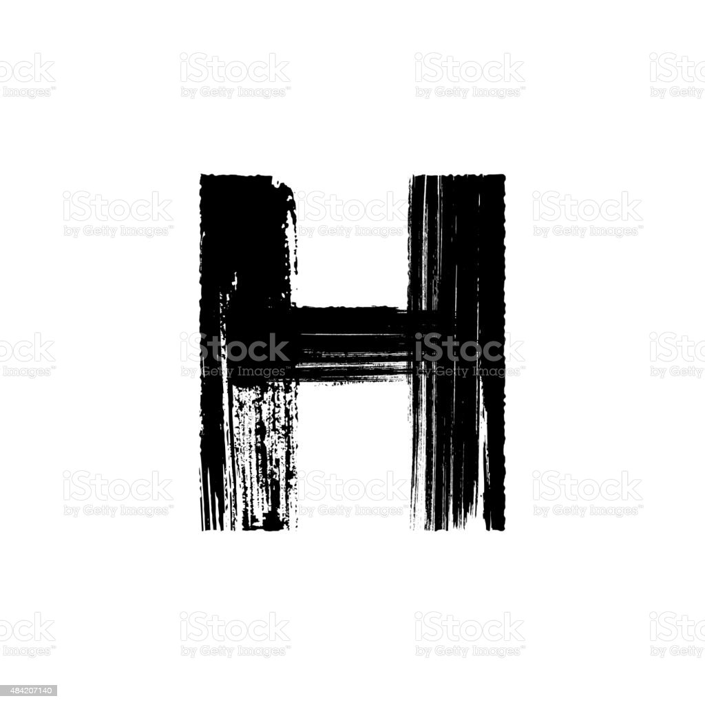Letter H hand drawn with dry brush vector art illustration