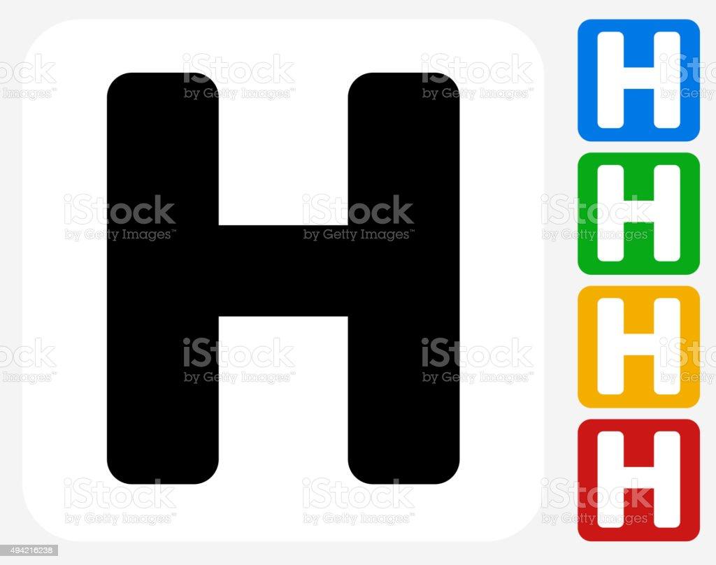 Letter H Icon Flat Graphic Design vector art illustration