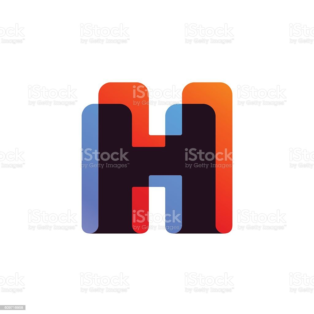 Letter H icon formed by colorful overlay ribbon. vector art illustration