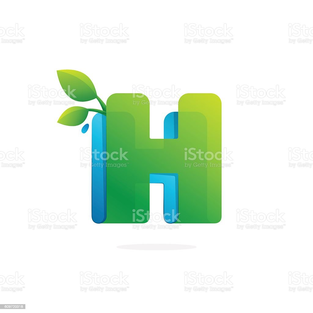 Letter H icon formed by ribbon with leaves and drops. vector art illustration