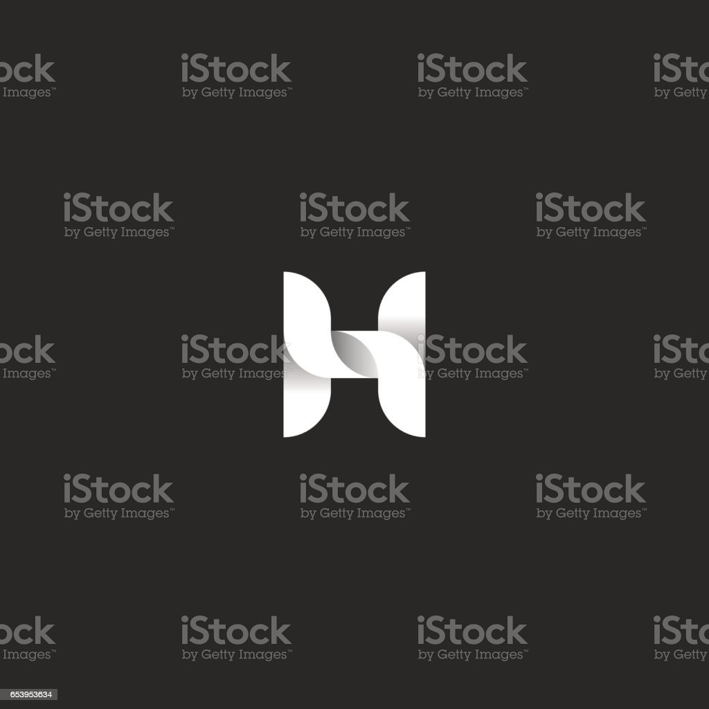 Letter H logo idea, monogram of the weave of smooth lines in the form of ribbons with shadows, black and white design element for typography, mockup for initial business card vector art illustration