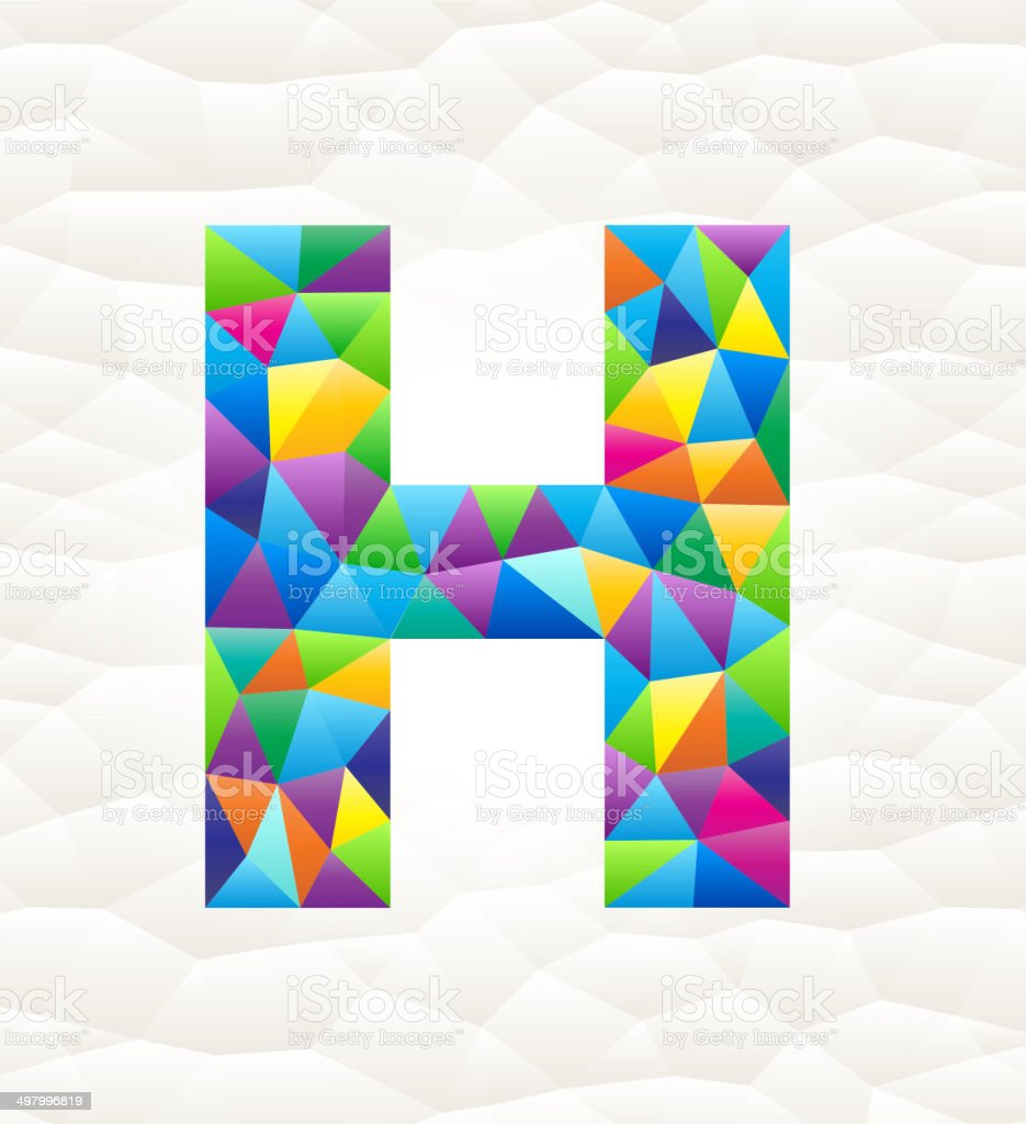 Letter H on triangular pattern mosaic royalty free vector art royalty-free stock vector art