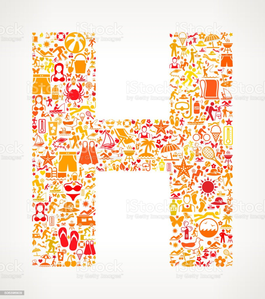 Letter H Summer and Vacation royalty free vector art Pattern royalty-free stock vector art