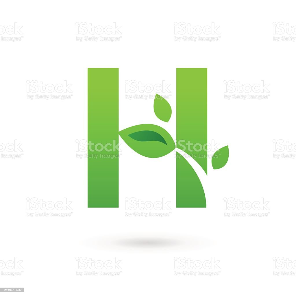 Letter H with eco leaves icon vector art illustration