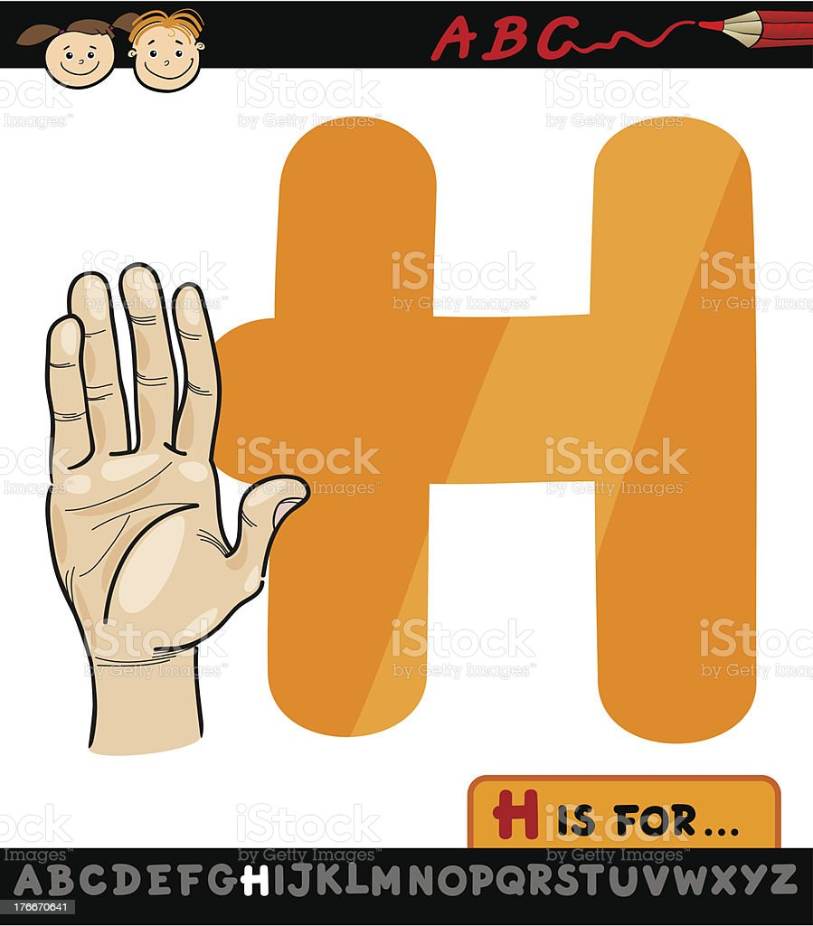 letter h with hand cartoon illustration royalty-free stock vector art