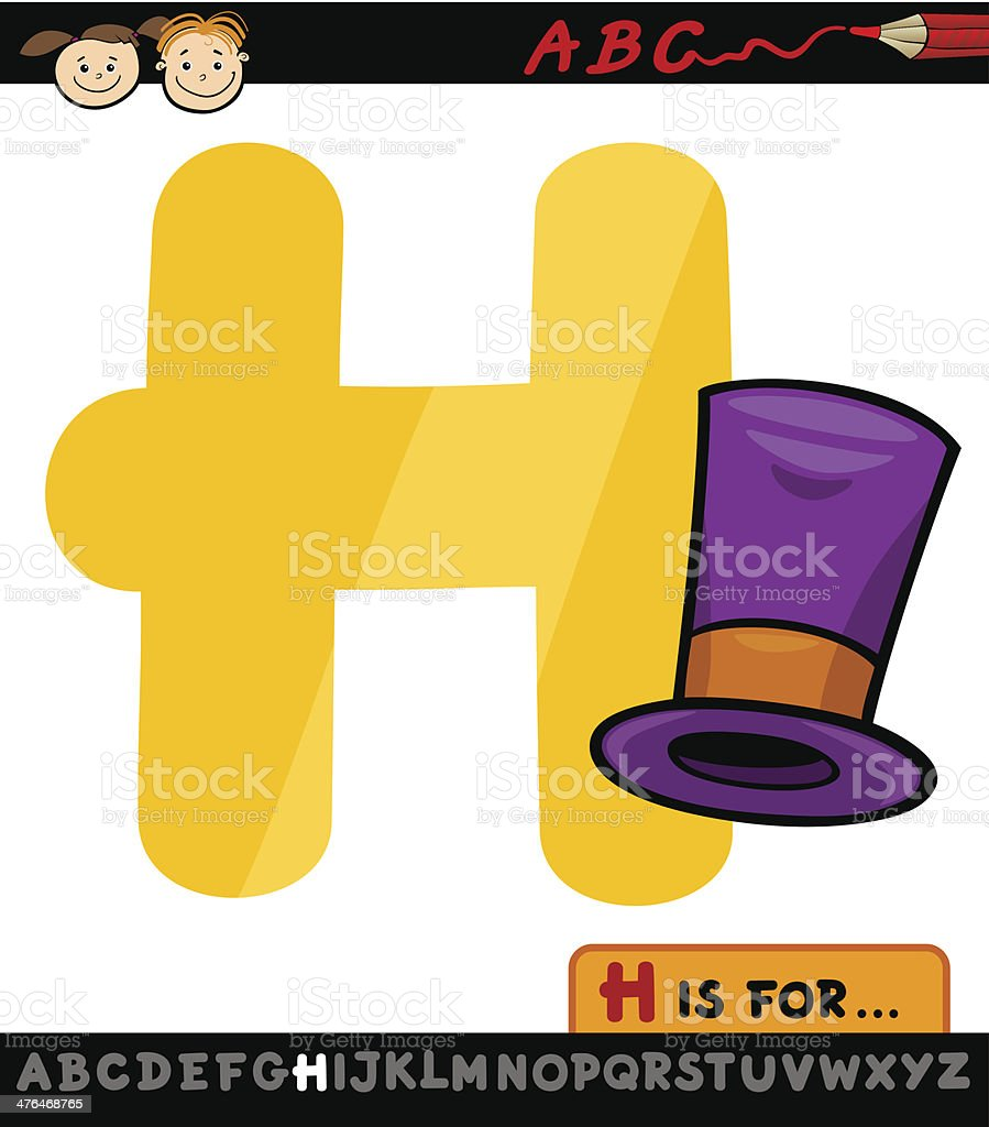 letter h with hat cartoon illustration royalty-free stock vector art