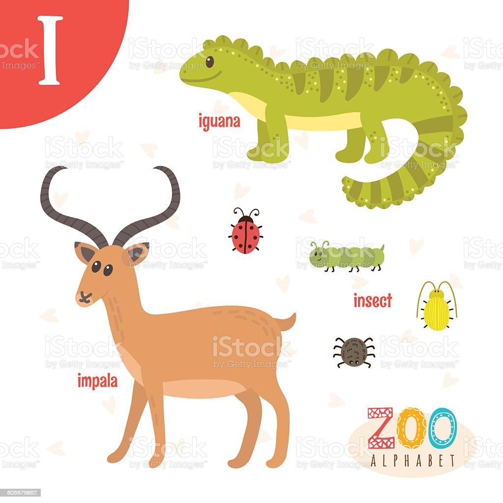 Letter I. Cute animals. Funny cartoon animals in vector vector art illustration