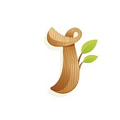 Letter I icon with wood texture and green leaves.
