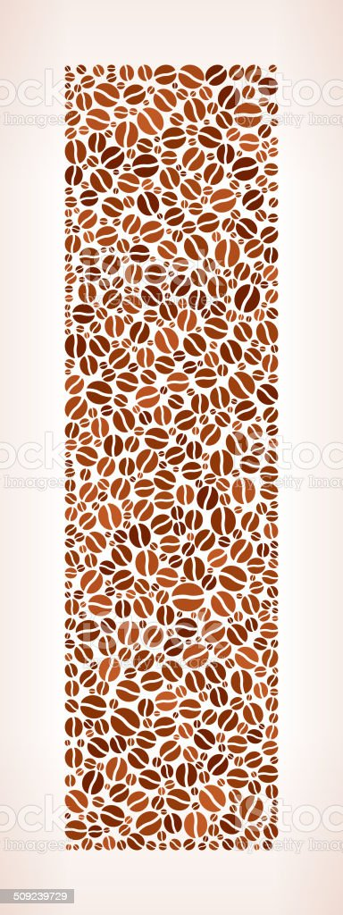 Letter I royalty free Coffee Bean Pattern vector art illustration