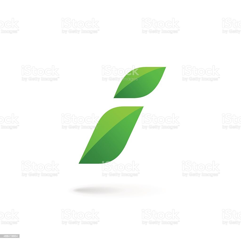 Letter I with eco leaves icon vector art illustration