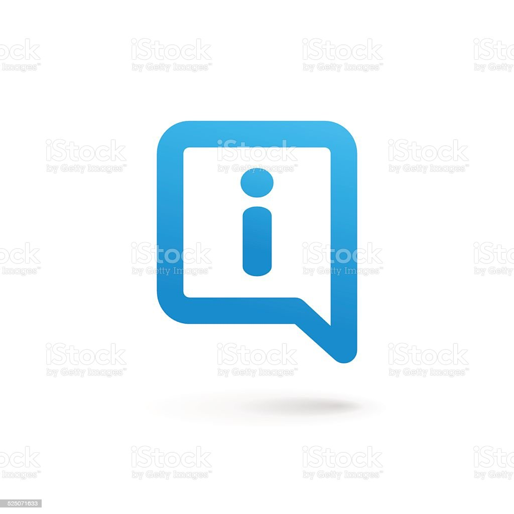 Letter I with speech bubble icon vector art illustration