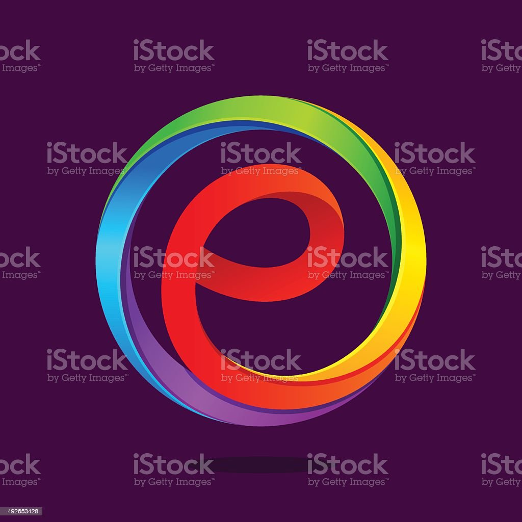 E letter colorful in the circle vector art illustration