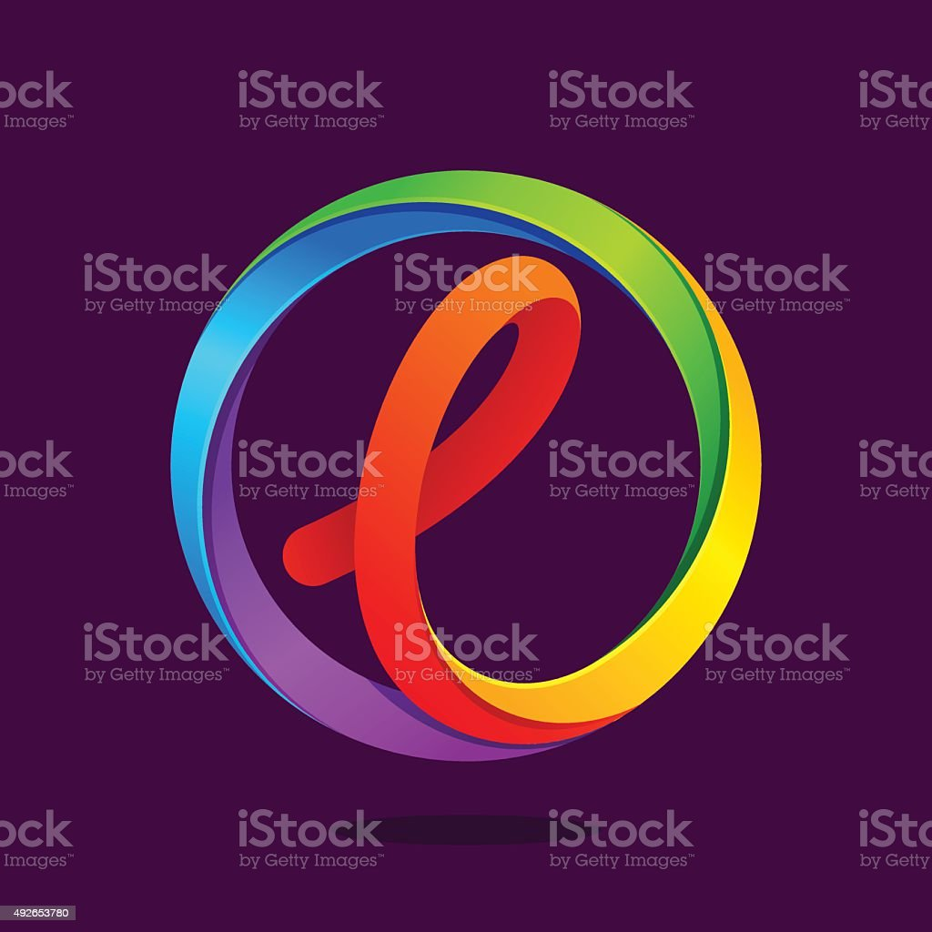 L letter icon colorful in the circle vector art illustration