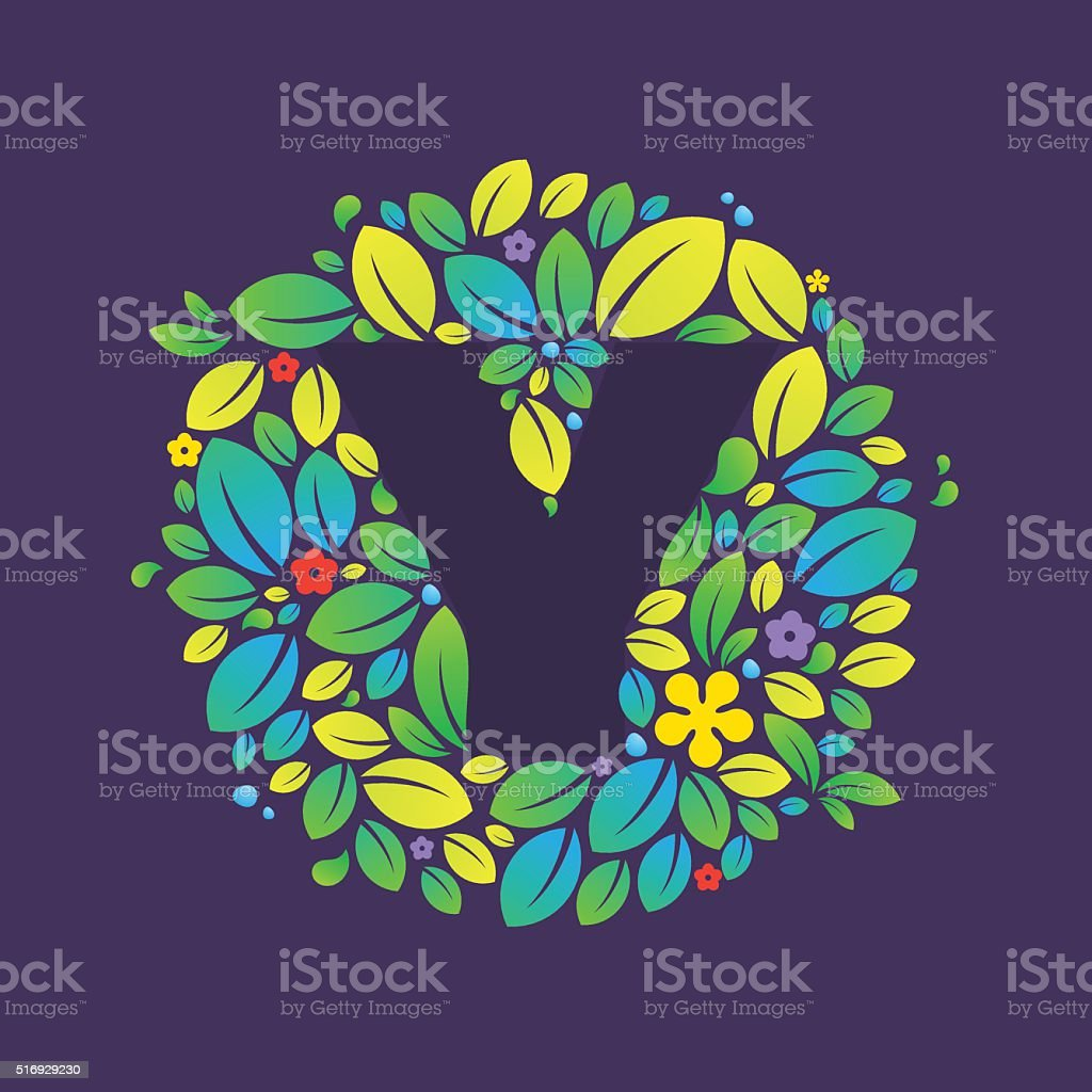 Y letter icon in a circle of leaves and flowers. vector art illustration