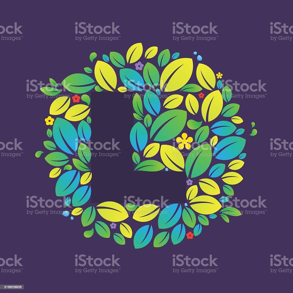 L letter icon in a circle of leaves and flowers. vector art illustration