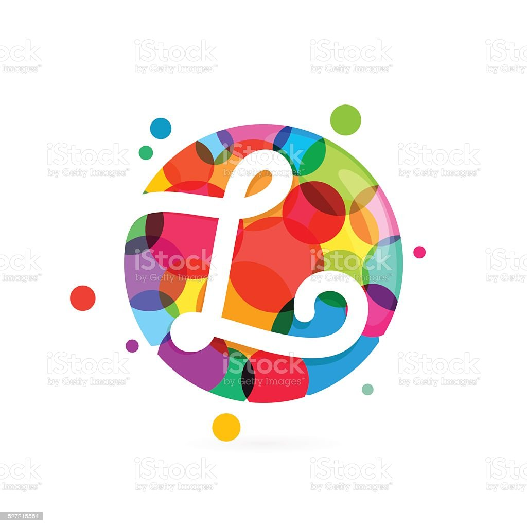L letter icon in circle with rainbow dots. vector art illustration