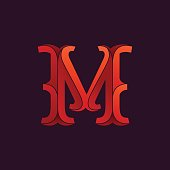 M letter icon in elegant retro faceted style.