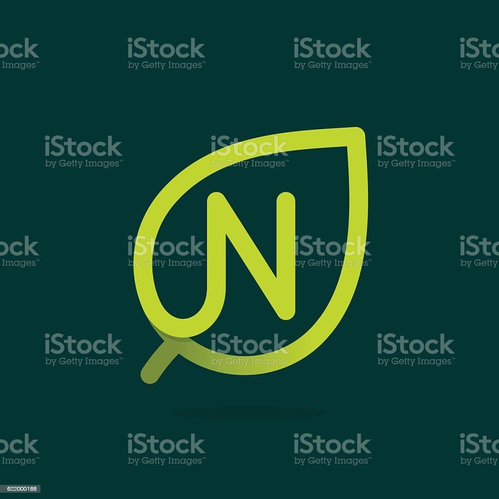 N letter icon in green leaf. vector art illustration