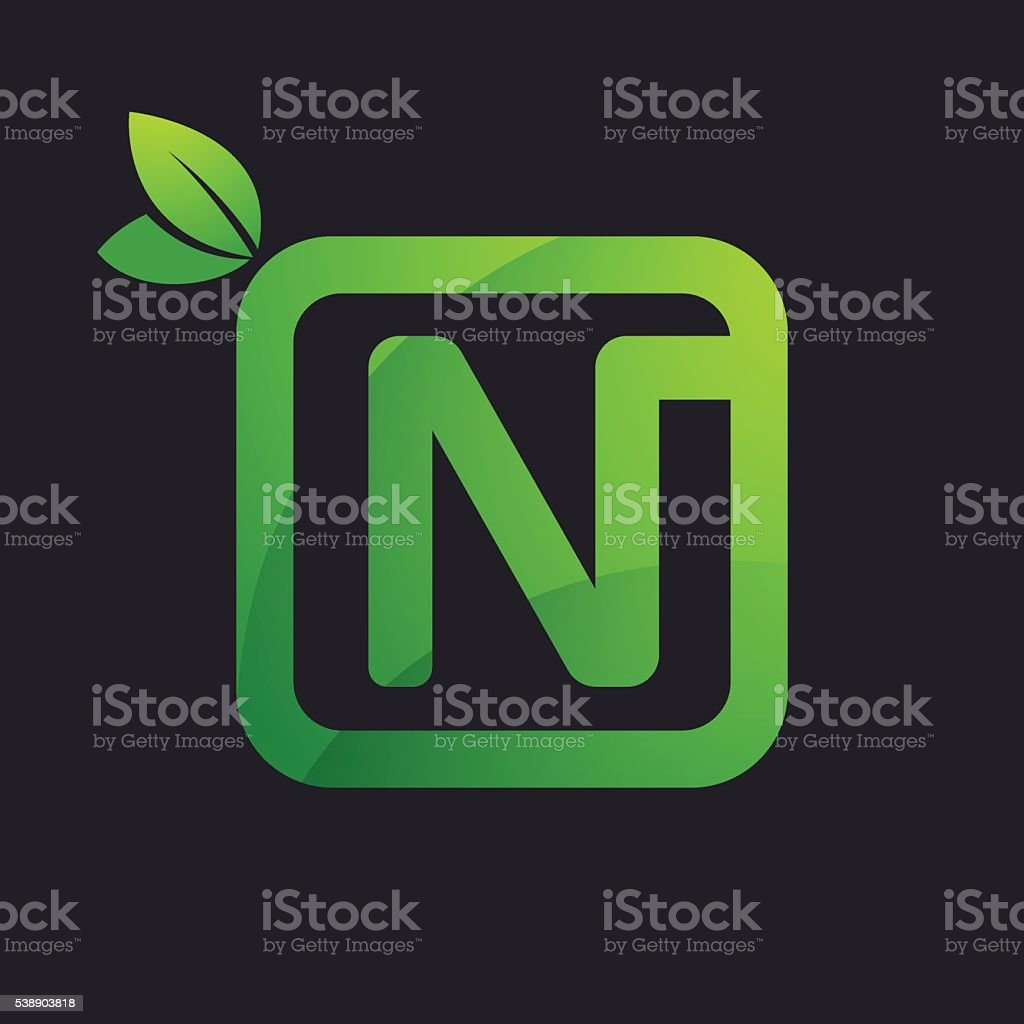 N letter icon in square and green leaves. vector art illustration